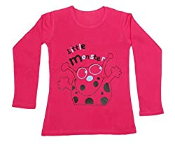 Indiweaves Girls Cotton Full Sleeves Printed T-Shirt_Red_Size- 6-7 Year
