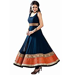 Aika Fashion Women's Georgette Fabric Dress Material In Nevy Blue Colour (Free Size_DR046AO1218-at)