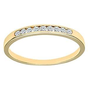 Naava Women's 9ct Yellow Gold Channel Set Diamond Eternity Ring