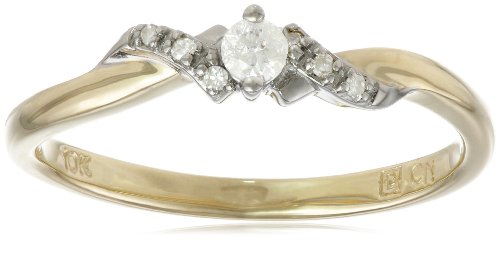 10k White and Yellow Gold Diamond Engagement Ring (0.1 Cttw, G-H Color, I2-I3 Clarity), Size 7