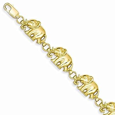 14K Gold Polished Elephant Bracelet 7 Inches