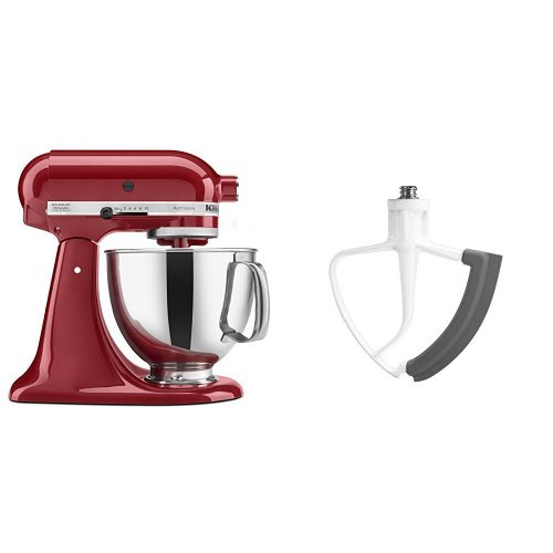 KitchenAid KSM150PSER Artisan Tilt-Head Stand Mixer with Pouring Shield, 5-Quart, Empire Red and KitchenAid KFE5T Flex Edge Beater for Tilt-Head Stand Mixers Bundle (Kitchen Aid Stand Mixer Bundle compare prices)