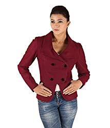 Owncraft Women's Woolen Jacket (Own_92_Maroon _Small)