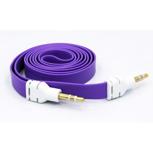 Fonus Quality Purple Tangle Free Flat Car Audio Stereo Aux Cable Auxiliary 3.5Mm Jack Wire Connector Adapter For Smart Phones.