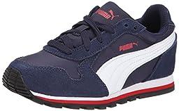 PUMA ST Runner NL JR Sneaker (Little Kid/Big Kid) , Peacoat/White/High Risk Red, 5.5 M US Big Kid