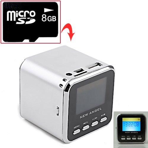Hde Portable Mini Stereo Speaker, Mp3 Music Player & Fm Radio W/ 8Gb Micro Sd Card (Silver)