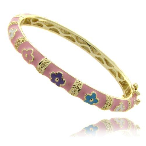 Lily Nily 18k Gold Overlay Pink Enamel Multi Colored Flower Design Children's Bangle