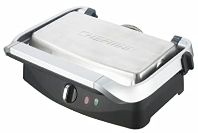 Chefman RJ02-V2 Contact Grill and Panini Press, Silver by Chefman