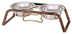 Loving Pets Black Label Collection Rustic Bone Diner for Dogs, 1-Pint, Aged Copper