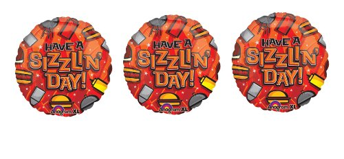 "3 ""Have A Sizzlin' Day"" BBQ Mylar Balloons - Multi Pack Of Cook Out Theme Balloons"