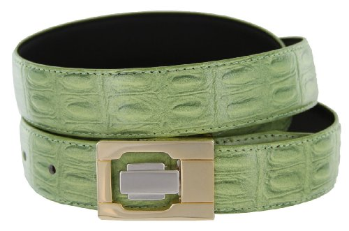 Leather Dress Belt, Celadon Green Crocodile with Nickel and Gold Plated Channel Buckle (32)