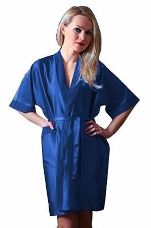 Ninex Luxury Nightwear Satin Dressing Gown Robe Kimono - Various Colors Blue S