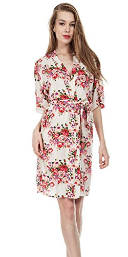 missfashion Floral Robes Women Wedding Bridal Kimono Robe Flower Cotton Lady Spa Night Dress (Medium, White) Dressing Cotton
