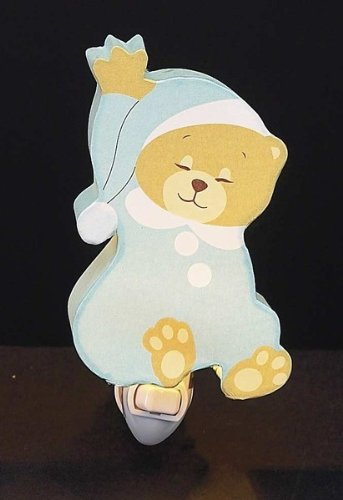 Children's Designed Blue Sleeping Bear Room Night Light - 1