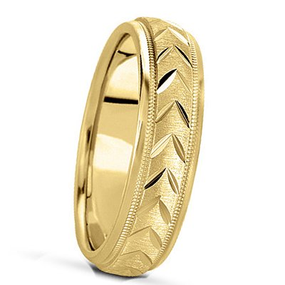 6.00 Millimeters 14Kt Yellow Gold Wedding Band Ring Swiss Cut Engraved Style SCL751MW by Wedding Rings by Oromi, Finger Size 10¾