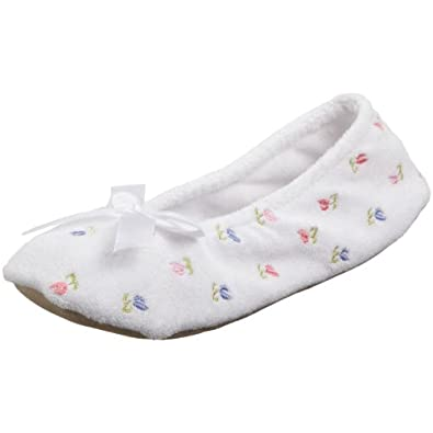 Isotoner Women's Embroidered Terry Ballerina (Small - 5-6, White)