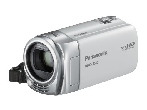 Panasonic SD40 Full HD Camcorder - White (SD Card Recording, x16.8 Optical Zoom, Wide Angle Lens, iA + AF Tracking)