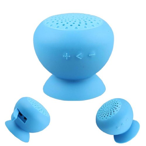 Voberry Hot Sale Mini Mushroom Bluetooth Speaker Wireless Speaker Hands Free Silicone Material With Suction (Blue)
