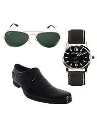 Elligator Stylish Black Formal Shoes With Watch & Sunglass For Men's - B014DSBQ4I