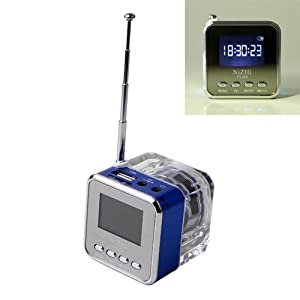 HDE Rechargeable Digital Mini LED Travel Pocket Speaker Clock FM Radio MP3 Player and Micro SD Slot