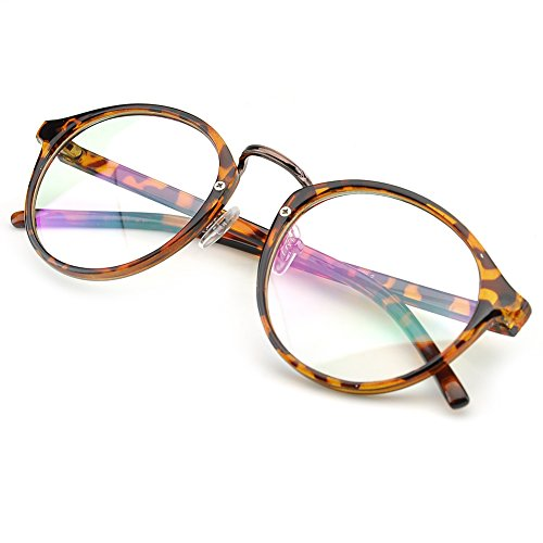 PenSee Vintage Inspired Eyeglasses Frame Round Circle Clear Lens Glasses (Fleck) (Round Vintage Glasses compare prices)
