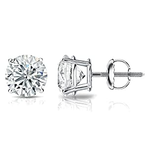 GIA Certified Platinum Round Diamond Stud Earrings 4-Prong (4.30 cttw, G-H, VVS1-VVS2) SB