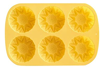 6 Cavity Sunflower Silicone Mold Pan - Baking Mold, Ice Tray Mold, Freezing Mold, Homemade Craft Soap Making Mold