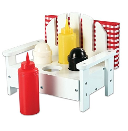 5-piece Adirondack Chair Condiment Set for Ketchup, Mustard, Salt and Pepper in White Picnic Camping Condiment Rack Holder Great For Memorial Day or 4th of July Picnics Cookouts and Camping
