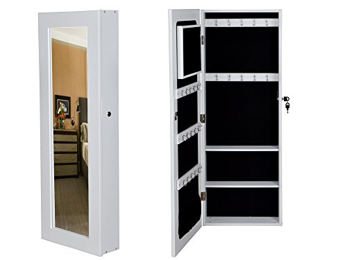 Glass Mirrored Jewelry Cabinet Armoire Organizer Storage Wall Mount Jewelry Case White front-1008388