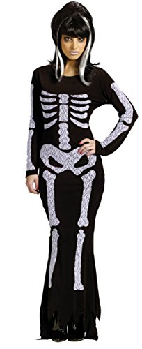 Funworld Womens Black Bone Print Theme Scary Halloween Lace Skeleton Costume