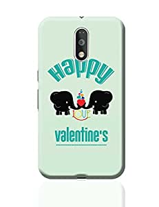 PosterGuy Moto G4 Plus Covers & Cases - Happy Love Valentine,S With Two Black Elephants Romantic Hearts | Designed by: Designer Chennai