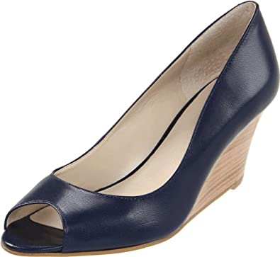 Nine West Women's Powersurge Peep-Toe Pump,Navy,5 M US