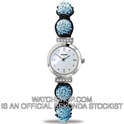 Sekonda Ladies Blue Crystalla Black Cord Watch