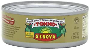 Genova Tonno, Solid Light Tuna in Olive Oil, 5-Ounce Cans (Pack of 24)