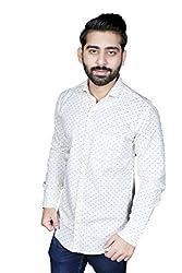 Strak Men's Cotton Polka Print Party Shirt (WB234789_44_X-Large_White)