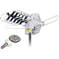 Amplified HD Digital Outdoor HDTV Antenna with Motorized 360 Degree Rotation