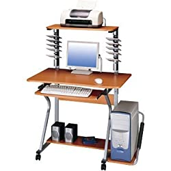 Techni Mobili Mobile Rolling Computer Desk with CD/DVD Holder and Printer Stand