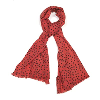 Polka Dot Wool Scarf (Coral Red)