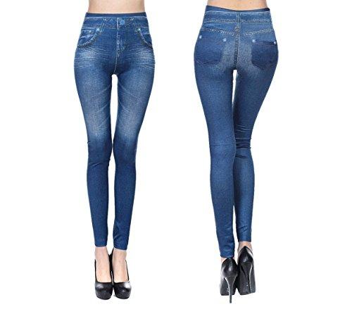 Leggings effetto denim modello basic slim modellante in due varianti. MWS (Taglia Unica, Blu)