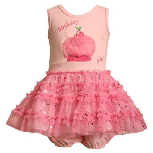 Size-24M BNJ-7554R 2-Piece PINK TIERED SEQUIN MESH 'Birthday Girl' CHERRY CUPCAKE Special Occasion First 1st Birthday Party Dress,R17554 Bonnie Jean BABY 12M-24M