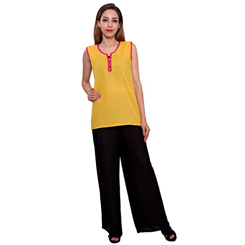 MSONS Women's Yellow Short Tunic Kurti in Bombay Dyeing Cotton Fabric  available at amazon for Rs.298