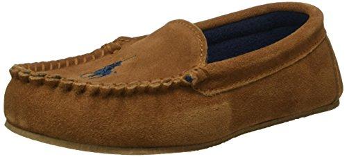Ralph Lauren 991659 - Mocassini Desmond Moc Unisex Bambini, colore Marrone (snuff suede w navy fleece lining), taglia 36
