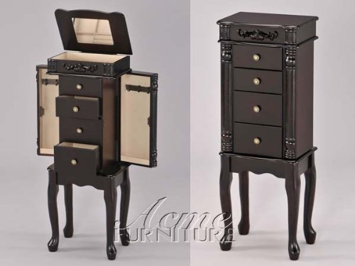 Traditional Style Queen Anne Jewelry Chest Armoire With Jewelry Storage Drawers In Espresso. (Item# Vista Furniture AC16008) (Jewelry Armoire Chest Espresso compare prices)