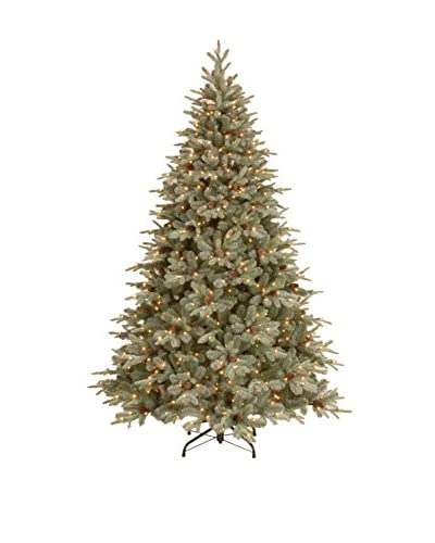 """National Tree Company 7.5 """"Feel Real"""" Frosted Artic Spruce Hinged Tree"""