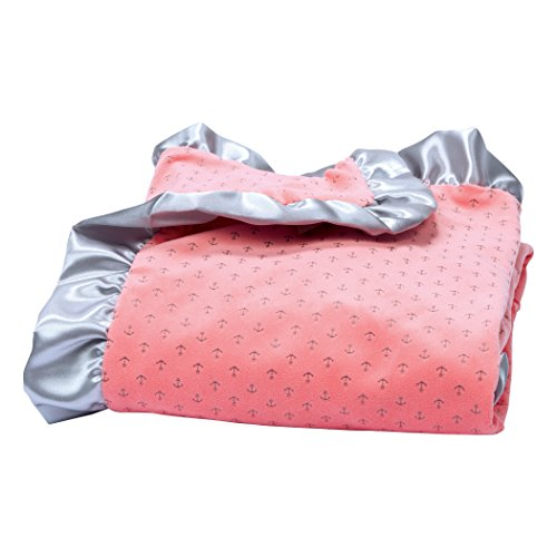 Trend Lab Shell Pink Petite Anchors Velour and Satin Receiving Blanket