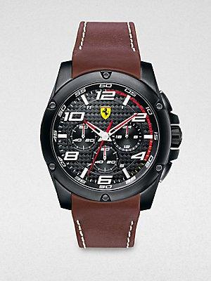 Scuderia Ferrari 'Paddock' Chronograph Leather Strap Watch, 46mm
