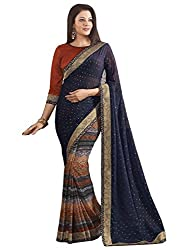 Exclusive Blue And Multicolor Weightless Material Printed Saree With Blouse