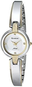 Armitron Women's 75/5215SVTT Swarovski Crystal Accented Two-Tone Bangle Watch