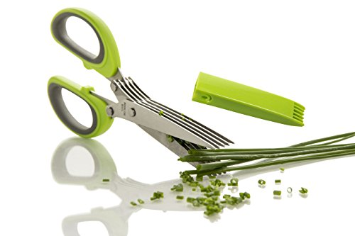FreshCut Gourmet Herb Scissors Multipurpose Shears with 5 Stainless Steel Blades and Cover