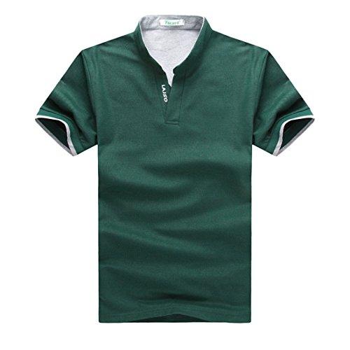 angertech Uomo Casual Polo a maniche corte con scollo a V t-shirt-red, Green, XXXL